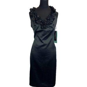 London Times Sleeveless Dress w/Ruffled Neckline
